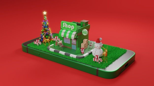 Conceito de e-commerce no natal ou ano novo, compras on-line e serviço de entrega em aplicativos móveis., renderização em 3d.