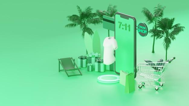Conceito de e-commerce no verão, compras on-line e serviço de entrega em aplicativo móvel, transporte ou entrega de comida por scooter, renderização em 3d.