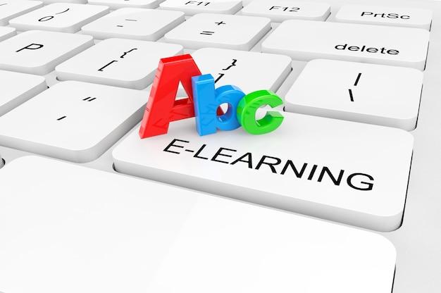 Conceito de e-learning. closeup extremo abc assinar em um teclado