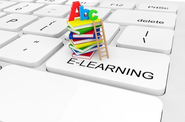 Conceito de e-learning. closeup extremo livros e placa abc em um teclado