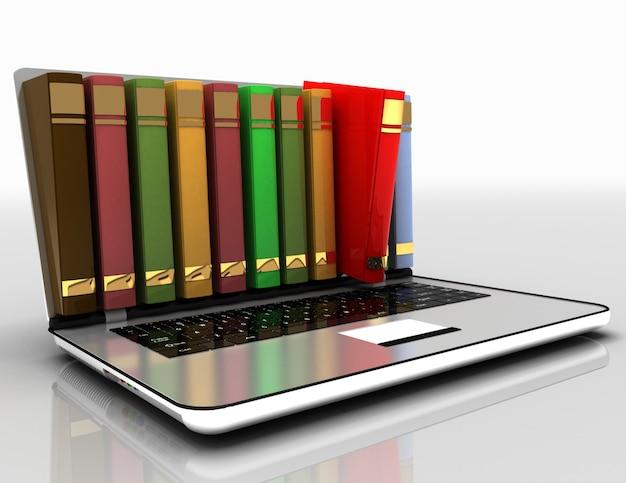 Conceito de e-learning. ilustração de laptop e books.3d