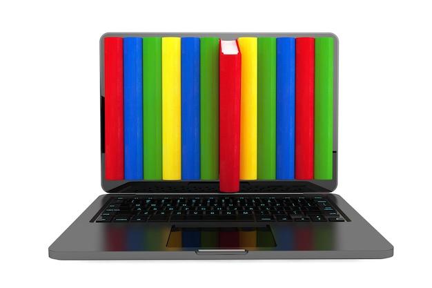 Conceito de e-learning. laptop com livros coloridos em um fundo branco