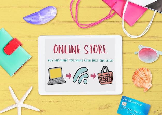 Conceito de e-shopping para compras online Foto gratuita