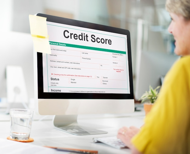 Conceito de economia de banco financeiro de pontuação de crédito
