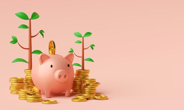 Conceito de economia de dinheiro colocando uma moeda na renderização 3d do cofrinho