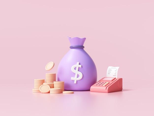 Conceito de economia de dinheiro. saco de dinheiro, pilhas de moedas e terminal pos em fundo rosa. ilustração 3d render