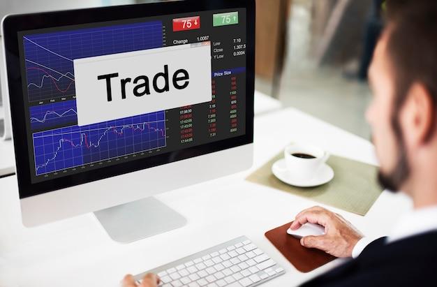 Conceito de economia empresarial do mercado de ações de investimento