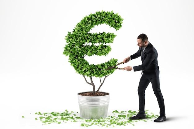 Conceito de economia verde. planta com símbolo de dinheiro. renderização 3d