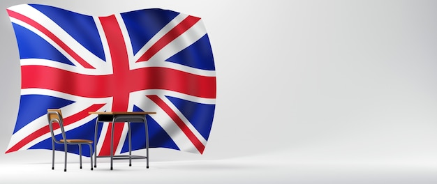 Conceito de educação. 3d da mesa e a bandeira da inglaterra em fundo branco.