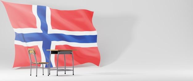 Conceito de educação. 3d da mesa e a bandeira da noruega em fundo branco.