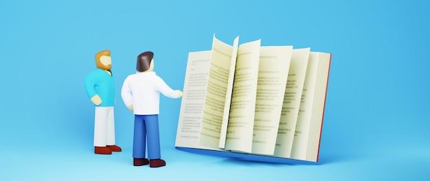 Conceito de educação. 3d de homens e um livro sobre fundo azul. conceito isométrico de design moderno plano de educação. de volta à escola.