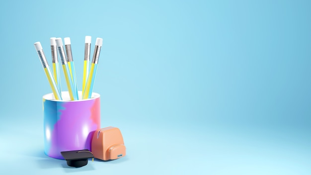 Conceito de educação. 3d de lápis e mini bolsa escola sobre fundo azul.