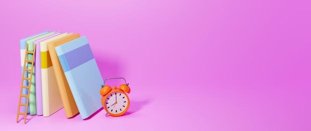 Conceito de educação. 3d de livros, relógio no fundo rosa. conceito isométrico de design moderno plano de educação. de volta à escola.