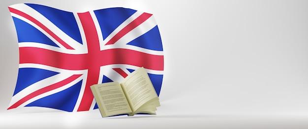 Conceito de educação. 3d do livro e a bandeira da inglaterra em fundo branco.