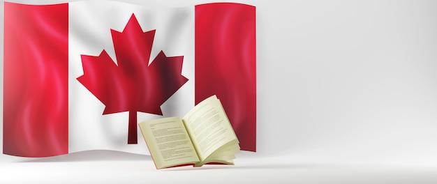 Conceito de educação. 3d do livro e a bandeira do canadá em fundo branco.