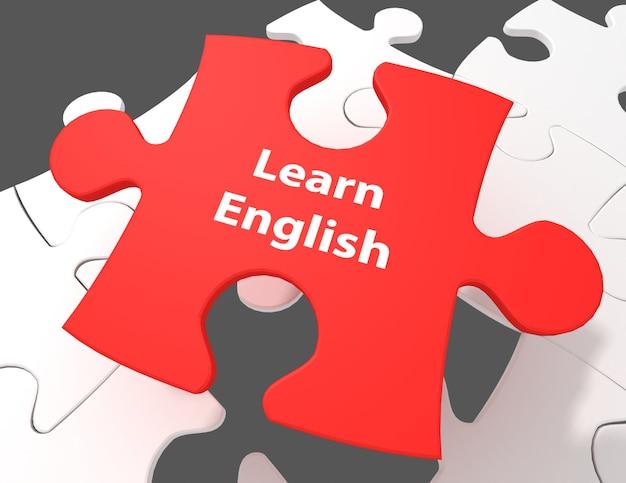 Conceito de educação: aprenda inglês no fundo de peças de quebra-cabeça em branco, renderização em 3d