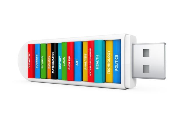 Conceito de educação em informática. livros escolares em usb flash drive em um fundo branco. renderização 3d