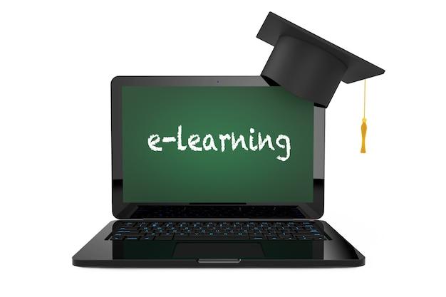 Conceito de educação online. chapéu de formatura sobre laptop com tela de quadro-negro e sinal de e-learning em um fundo branco. renderização 3d.