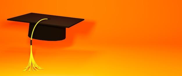 Conceito de educação. renderização 3d do chapéu de formatura, para site e site para celular.