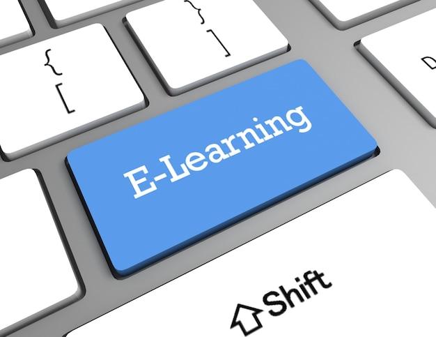 Conceito de educação: teclado de computador com palavra e-learning