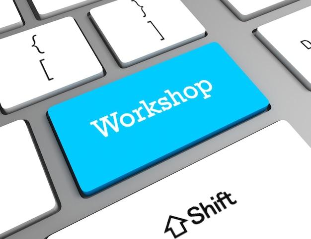 Conceito de educação: teclado de computador com palavra workshop, foco selecionado no botão enter, renderização 3d