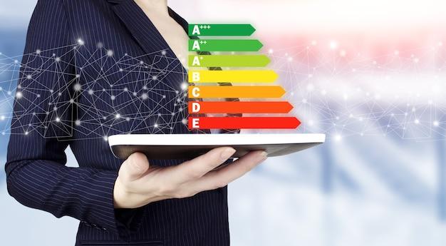 Conceito de eficiência energética. mão segure o tablet branco com sinal de eficiência energética de holograma digital na luz de fundo desfocado. boa classificação do gráfico de energia.