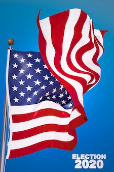 Conceito de eleições americanas com bandeira da américa