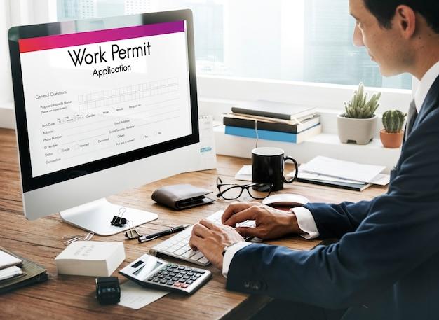 Conceito de emprego de aplicativo de permissão de trabalho