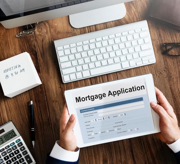 Conceito de empréstimo residencial para inscrição de hipoteca