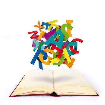 Conceito de encontrar as palavras para escrever um livro