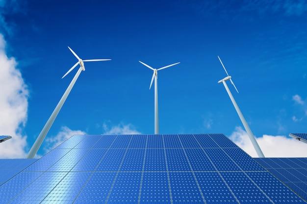 Conceito de energia alternativa com renderização em 3d de turbinas eólicas e painéis solares