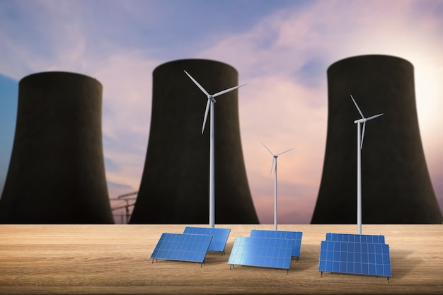 Conceito de energia com renderização em 3d de células solares, turbinas eólicas e reatores nucleares