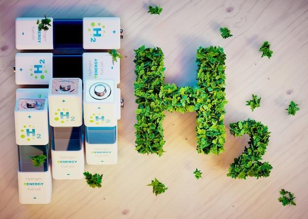 Conceito de energia do hidrogênio. imagem 3d gerada por computador.