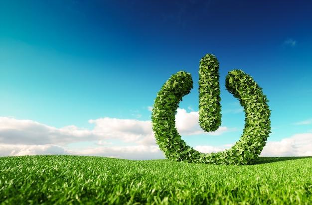 Conceito de energia renovável ecológica. renderização 3d do botão verde de energia cadastre-se no prado fresco da primavera com o céu azul ao fundo.
