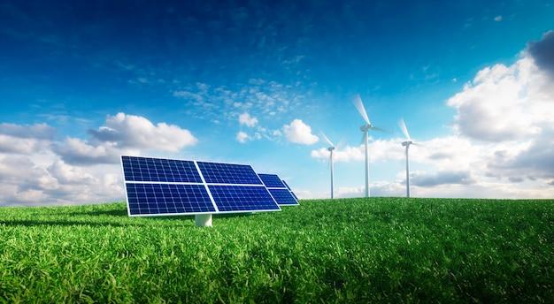 Conceito de energia renovável - fotovoltaica e turbinas eólicas em uma grama arquivada. ilustração 3d.