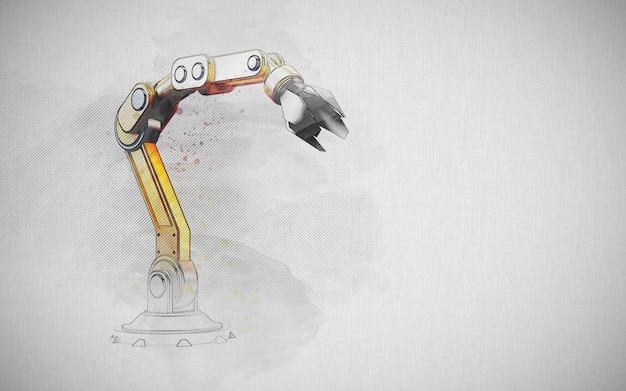 Conceito de engenharia: braço de robótica de esboço desenhado à mão