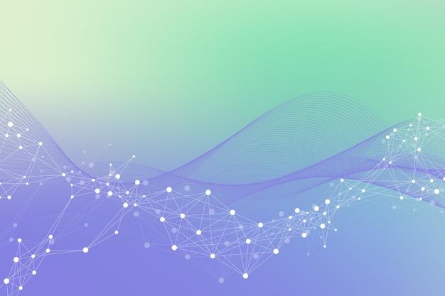 Conceito de engenharia genética e manipulação de genes de ilustração científica. hélice de dna, fita, molécula ou átomo de dna, neurônios. estrutura abstrata para ciência ou formação médica.