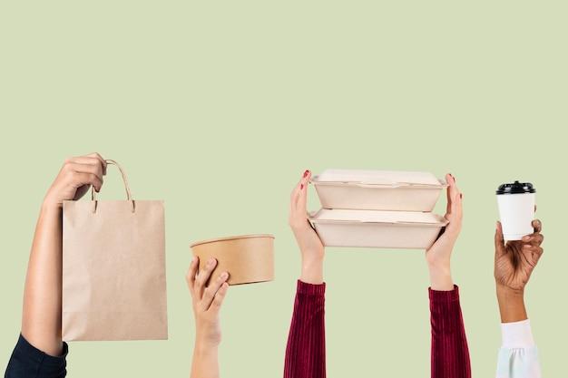 Conceito de entrega de embalagens de alimentos ecologicamente corretas