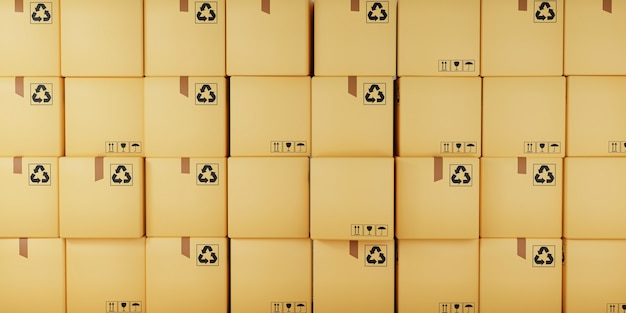 Conceito de entrega de encomendas e pacotes. pilha de caixas de papelão, renderização 3d.