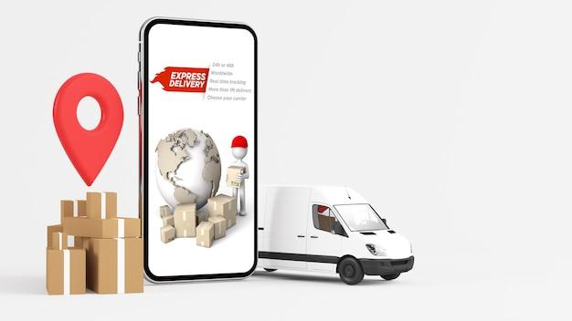 Conceito de entrega móvel, compras online, renderização em 3d