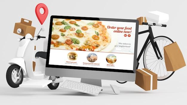 Conceito de entrega online de comida de encomenda renderização em 3d