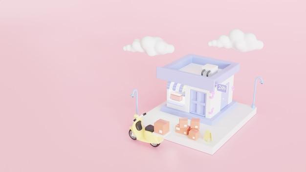 Conceito de entrega rápida de loja e caixas de papelão. transporte de expedição de mercadorias do produto. ilustração 3d render.
