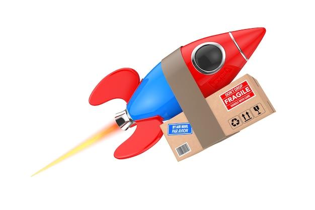 Conceito de entrega rápida. foguete engraçado com caixa de pacote em um fundo branco. renderização 3d