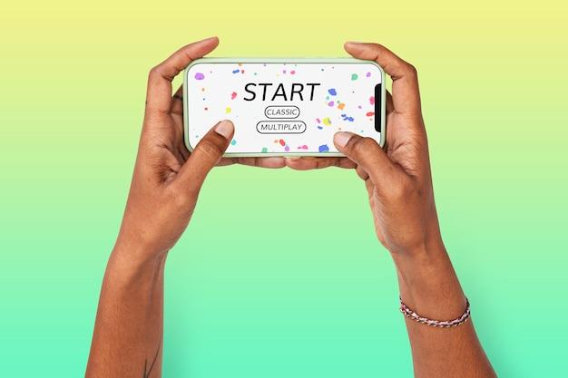 Conceito de entretenimento de jogos com tela de smartphone
