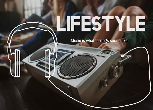Conceito de entretenimento de lazer de estilo de vida de música