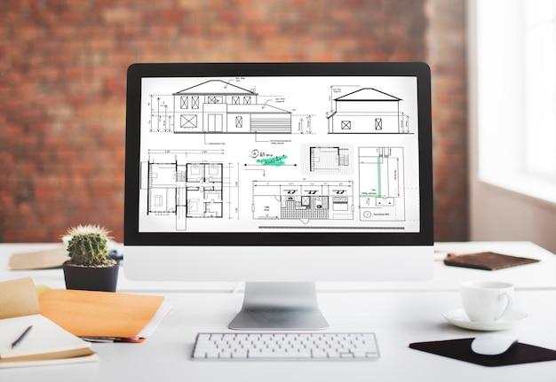 Conceito de esboço de projeto de construção de arquiteto blueprint
