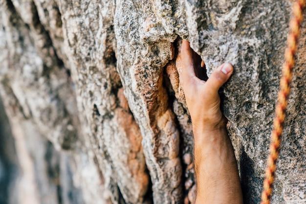 Conceito de escalada com mão