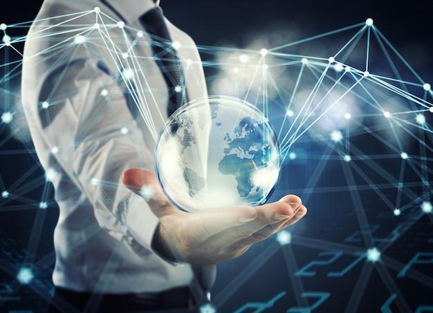 Conceito de esferas de interconexão conectadas entre si. conceito de sistema de rede