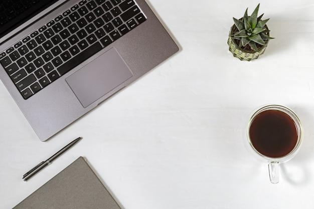 Conceito de espaço de trabalho, caderno, caneta, xícara de café, pequena suculenta.