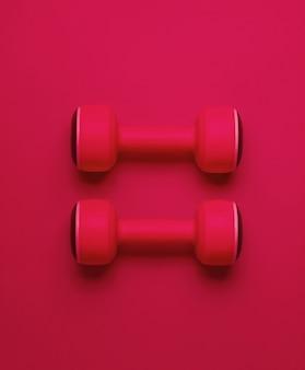 Conceito de esporte do minimalismo. dois halteres de plástico sobre fundo de luz vermelha. vista do topo